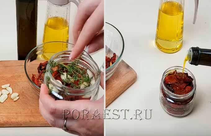 pomidory-razlozhit-v banki-zalit-maslom