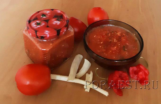 Аджика из помидор с хреном и чесноком на зиму