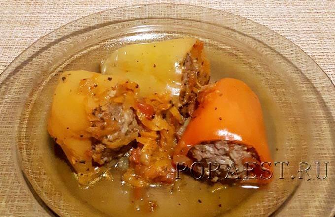 Сладкий перец фаршированный мясом и рисом